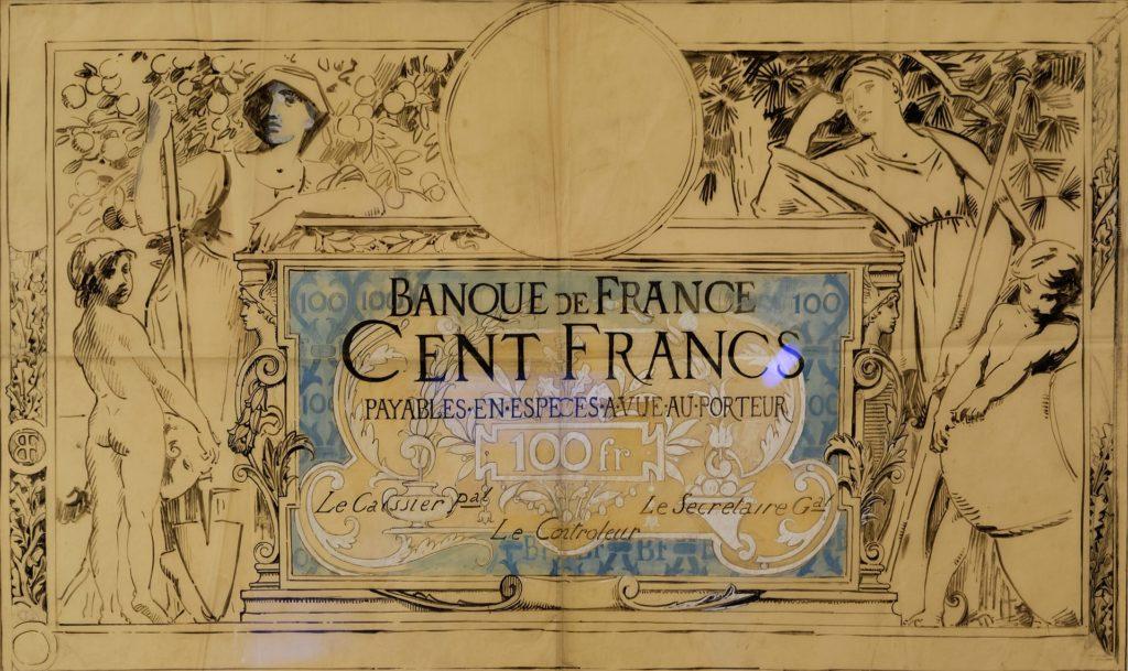 Maquette du billet de 100 francs créé le 2 janvier 1908 par Luc-Olivier Merson (peintre), Romagnol (gravure) ; Frédéric Florian (filigrane).