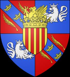 Le blason communal d'Asfeld est écartelé au premier et au quatrième de gueules à la bande cousue d'azur chargée de trois couronnes d'or et accompagnée de deux palmes du même, au deuxième et au troisième d'azur au lion naissant d'argent couronné du même, celui du troisième contourné ; sur le tout d'or aux quatre pals de gueules, le petit écu timbré d'une couronne ducale d'or au cimier d'un griffon issant du même.