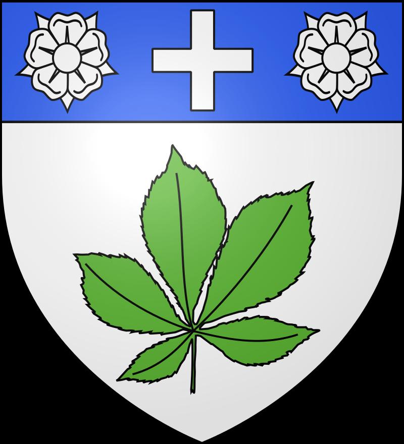 Le blason communal de La Romagne est d'argent à la feuille de marronnier de sinople, au chef d'azur chargé d'une croisette d'argent accostée de deux roses du même.