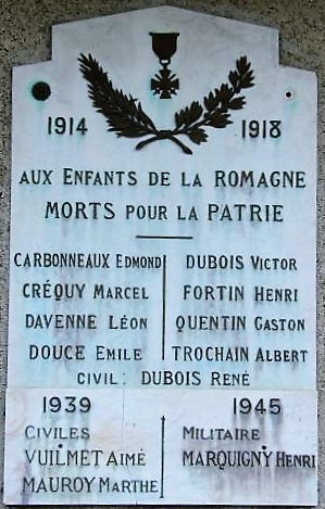Plaque commémorative du monument de La Romagne