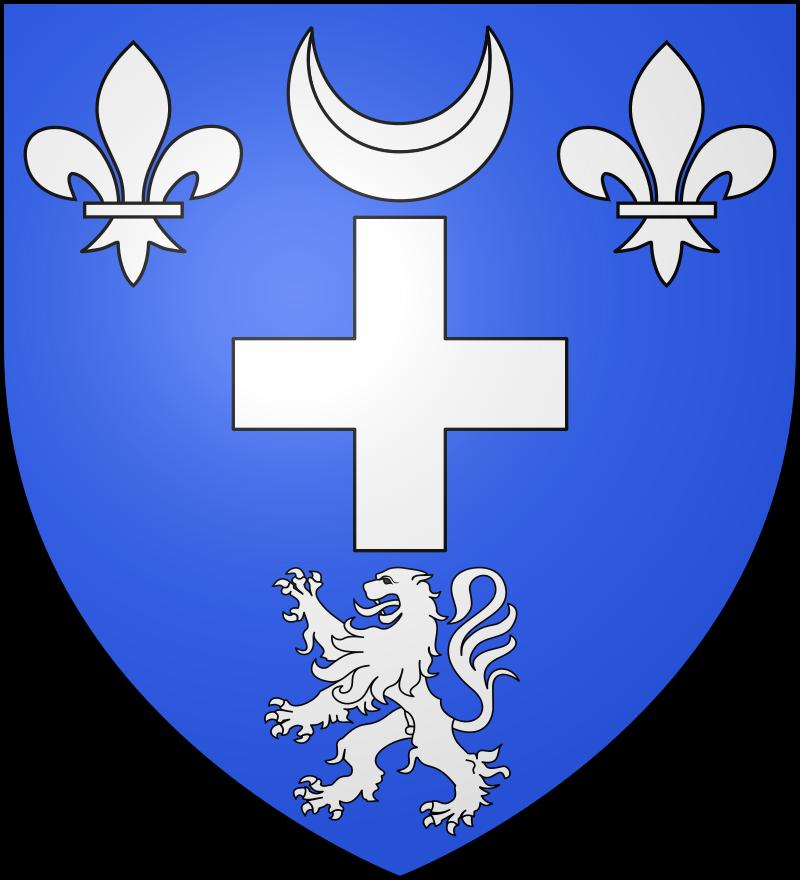 Le blason communal de Chaumont-Porcien est d'azur à la croisette surmontée d'un croissant, accosté de deux fleurs de lis et soutenue d'un lion, le tout d'argent.