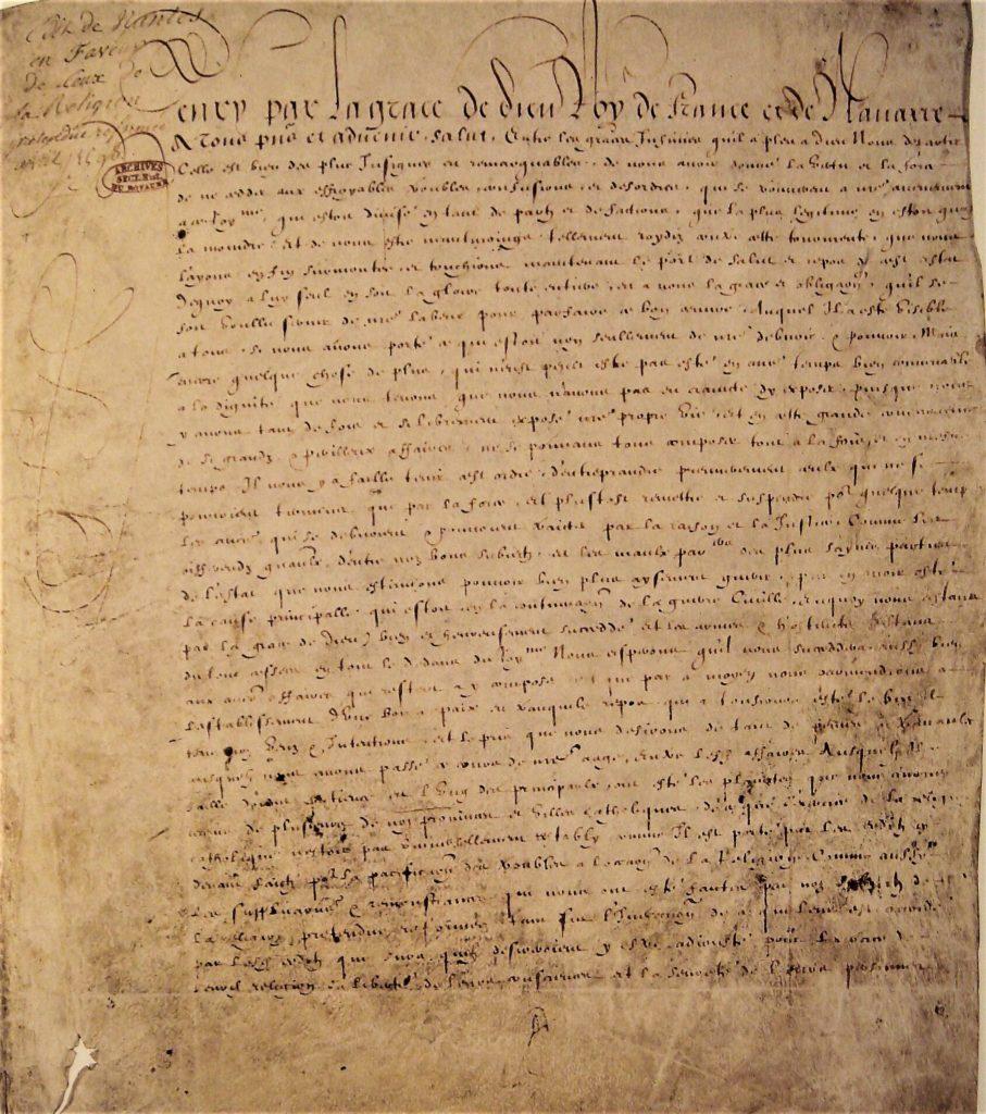 Edit de Nantes promulgué en avril 1598 par le roi de France Henri IV.