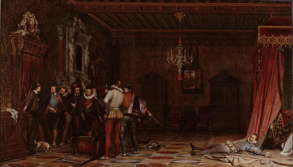 L'Assassinat du duc de Guise, peinture d'histoire de Paul Delaroche, musée Condé (1834). Henri Ier de Guise, l'un des principaux ennemis des protestants lors des guerres de Religion, est mort assassiné sur l'ordre d'Henri III le 23 décembre 1588.