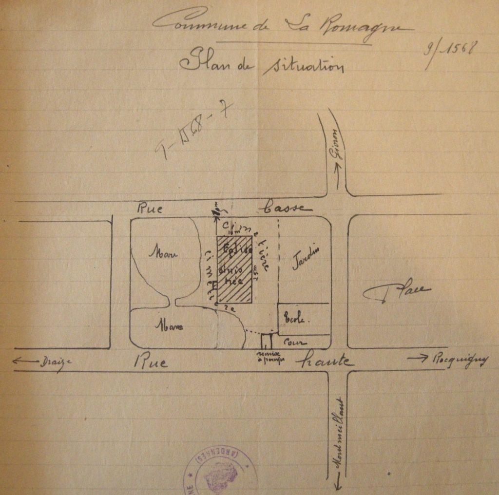 Plan de la mare et de la remise à pompe, mairie de La Romagne, avec l'aimable autorisation de monsieur René Malherbe (maire de la commune).