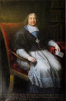 Portrait de Charles-Maurice Le Tellier par Pierre Mignard (1691). Charles Maurice Le Tellier, archevêque-duc de Reims (1642-1710)