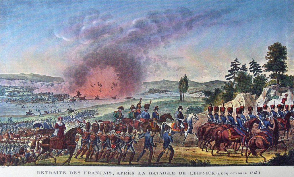 Retraite des Français après la bataille de Leipzig le 19 octobre 1813 par François Louis Couché, dit Couché fils.