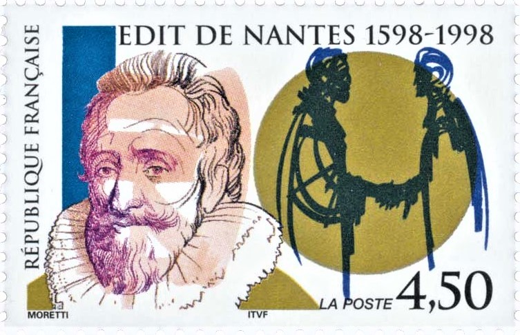 Timbre commémorant l'édit de Nantes, auquel met fin celui de Fontainebleau.