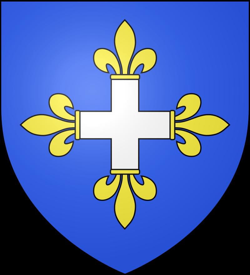 Le blason communal de Novion-Porcien est d'azur à la croix d'argent fleurdelysée d'or.