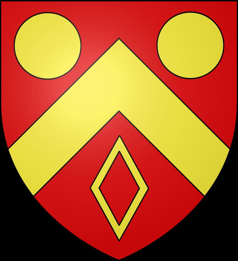 Le blason communal de Rocquigny est de gueules au chevron accompagné en chef de deux besants et en pointe d'une mâcle le tout d'or.