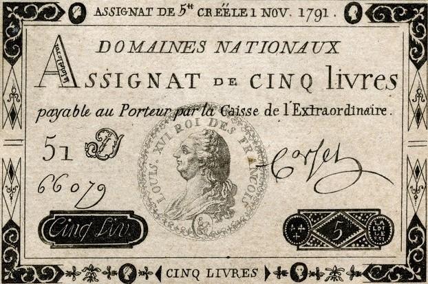 L'assignat est une monnaie mise en place sous la Révolution française.