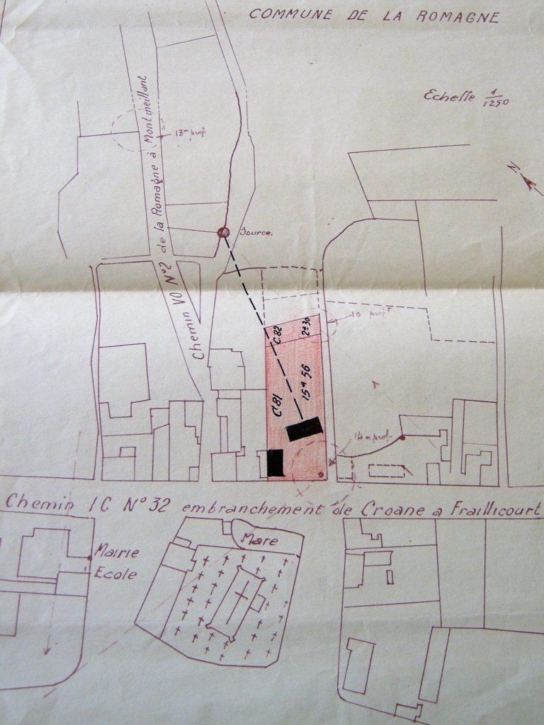 Plan des parcelles de la nouvelle école (mairie de La Romagne, avec l'aimable autorisation de monsieur René Malherbe, maire de la commune).