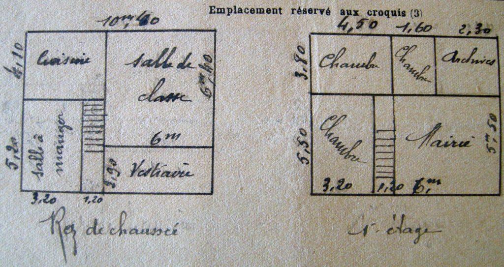 Ce plan de l'école de La Romagne a prévalu dans l'entre-deux-guerres (mairie de La Romagne, avec l'aimable autorisation de monsieur René Malherbe, maire de la commune).