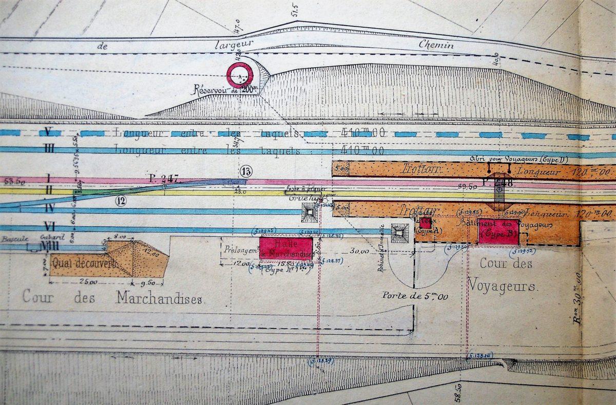 Cours des marchandises et des voyageurs de la gare de Draize – La Romagne (collection privée, avec l'aimable autorisation de monsieur François Gillet).