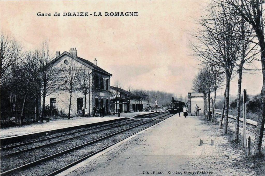 Gare de Draize – La Romagne (carte postale Librairie Nicaise, Signy-l'Abbaye).