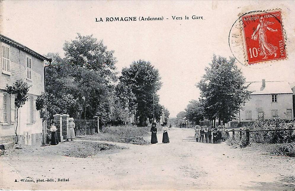 La Romagne (Ardennes) - Vers la gare, Augustin Wilmet, photographe-éditeur, Rethel.