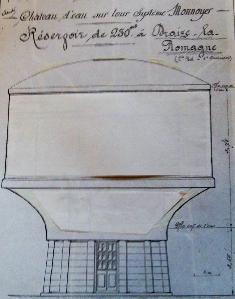 Château d'eau sur tour système Monnoyer à Draize – La Romagne (collection privée, avec l'aimable autorisation de  monsieur François Gillet).