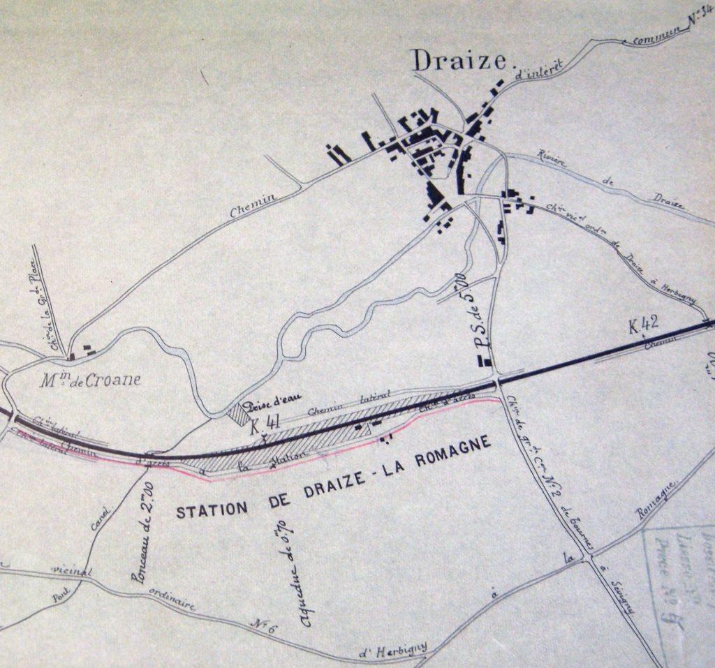 Chemin vicinal de grande communication de Rocquigny à la gare de Draize – La Romagne (Archives municipales des Ardennes).