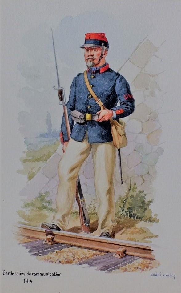 Des centaines de milliers d'hommes ont été mobilisés dès 1914 pour le service de la garde des voies de communication (aquarelle par André Marcy).