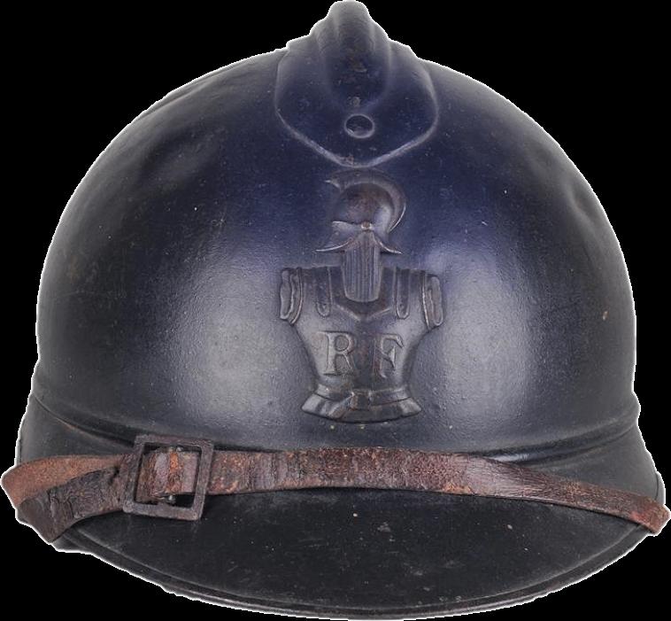 La cuirasse, le pot-en-tête et le sigle RF (République française) forment un ensemble typique du casque Adrian de sapeur du génie (modèle de 1915).