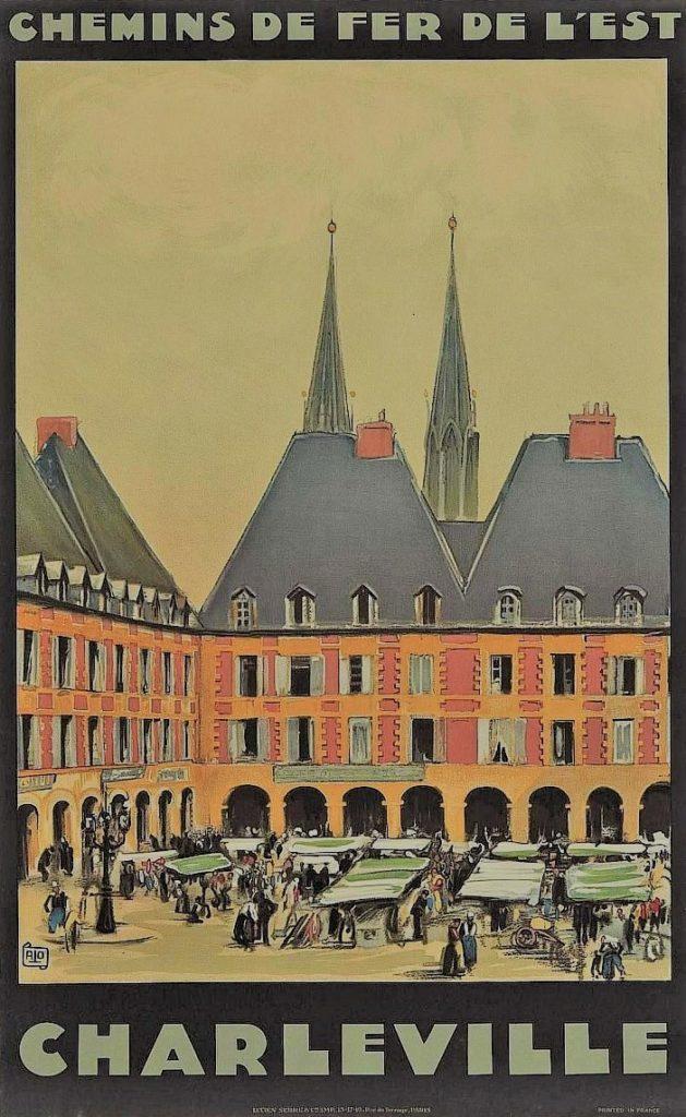 Affiche de la Compagnie des chemins de fer de l'Est pour la destination de Charleville.
