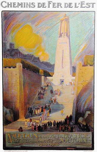 La Compagnie des chemins de fer de l'Est convie la France à commémorer la victoire de Verdun (affiche ancienne).