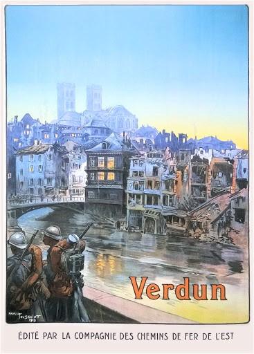 La Compagnie des chemins de fer de l'Est a édité cette affiche pour commémorer la victoire de Verdun.