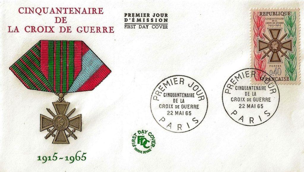 Cette enveloppe premier jour a été émise à l'occasion du cinquantenaire de la croix de guerre 1914-1918.
