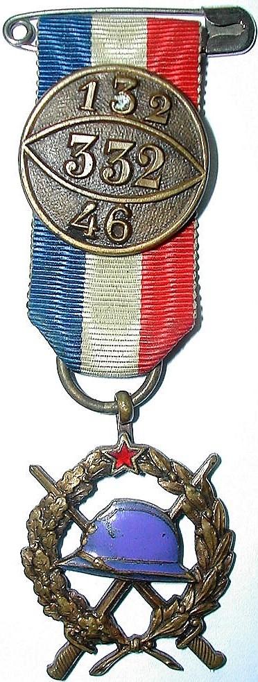 Médaille des 46e, 132e et 332e régiments d'infanterie.