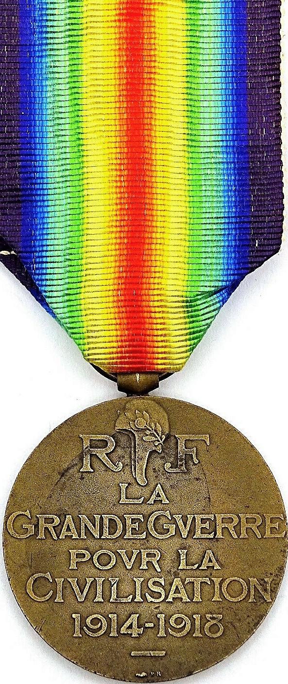 Médaille interalliée commémorative de la première guerre mondiale dite de la victoire (revers).
