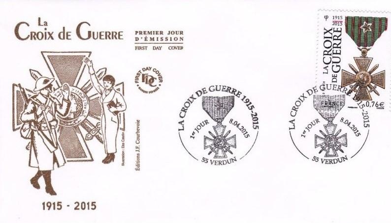Commémoration philatélique du centenaire de la croix de guerre.