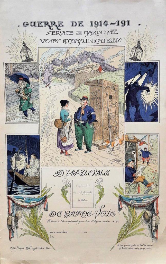 Diplôme de garde-voie édité par Marcel Daguet, estampe en couleurs (1917).