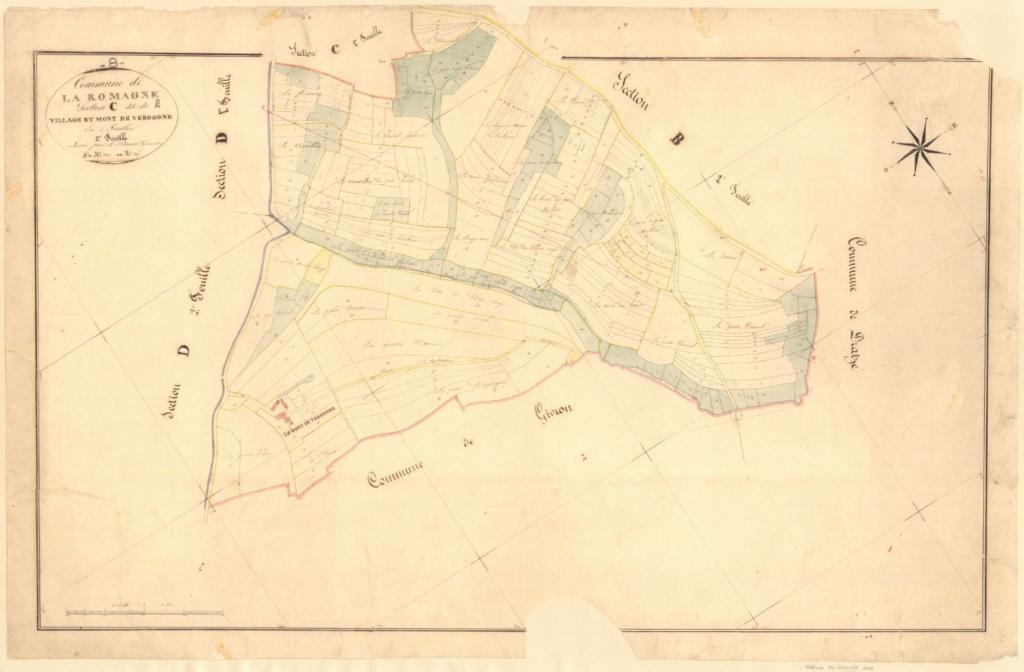 Archives départementales des Ardennes, La Romagne C2 1835, le village et le Mont de Vergogne, cadastre ancien, plan parcellaire, consultable en ligne.