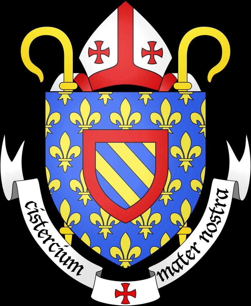 Blason ecclésiastique de l'ordre cistercien, dont la devise latine  «Cistercium mater nostra » signifie « Cîteaux notre mère ».