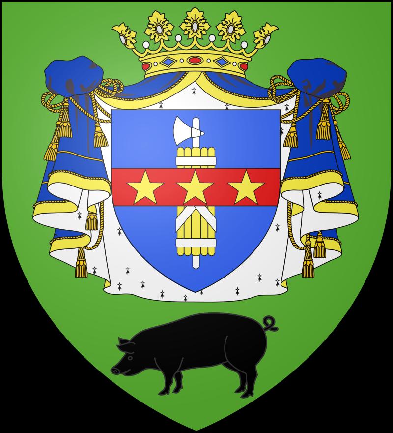 Le blason communal de Château-Porcien est de sinople au manteau ducal de gueules, doublé d'hermine et lié d'or, chargé d'un écusson d'azur surchargé d'une hache d'armes ou consulaire d'argent, entourée de houssines d'or liées d'argent, et d'une divise de gueules chargée de trois étoiles d'or brochant sur le tout de l'écusson, lui-même timbré d'une couronne ducale d'or; le tout, soutenu en pointe d'un porc de sable passant.