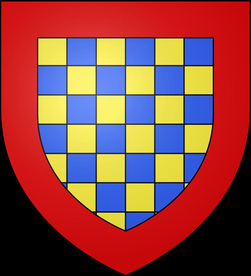 Le blason de la maison de Dreux est échiqueté d'azur et d'or à la bordure de gueules. Henri (1193-1240) a été archevêque de Reims de 1227 à 1240.