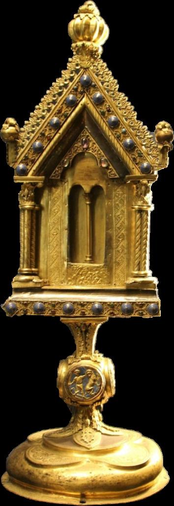Palais du Tau, (Reims), salle du trésor, reliquaire dit de Samson (archevêque de Reims de 1140 à 1161), cuivre émaillé et doré, argent doré sur une âme de bois, vers 1200.