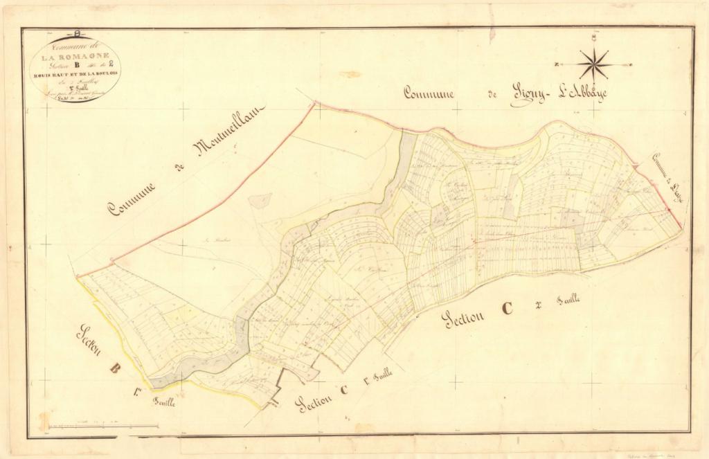 Archives départementales des Ardennes, La Romagne B2 1835, le Houis haut et la Boulois,  cadastre ancien, plan parcellaire, consultable en ligne.