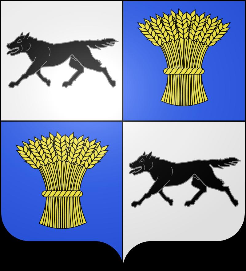 Le blason communal de Wasigny (Ardennes) est écartelé au un et quatre d'argent au loup courant de sable, au deux et trois d'azur à la gerbe de blé d'or.