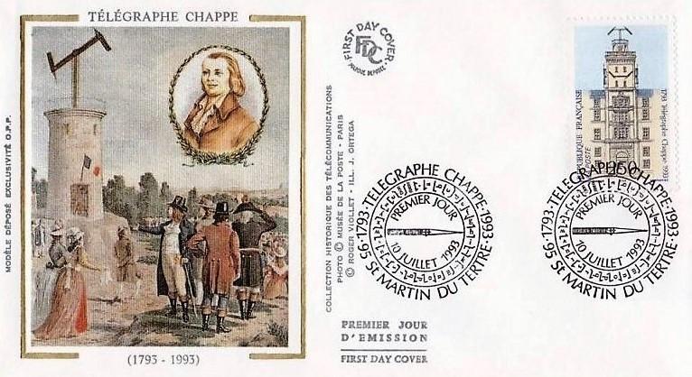 Emission premier jour représentant le télégraphe Chappe à l'occasion du bicentenaire de cette invention.
