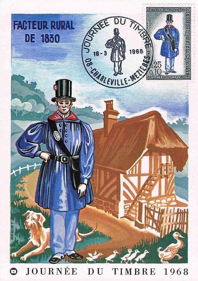 Un facteur rural en 1830, journée du timbre, émission premier jour du 18 mars 1968 à Charleville-Mézières.