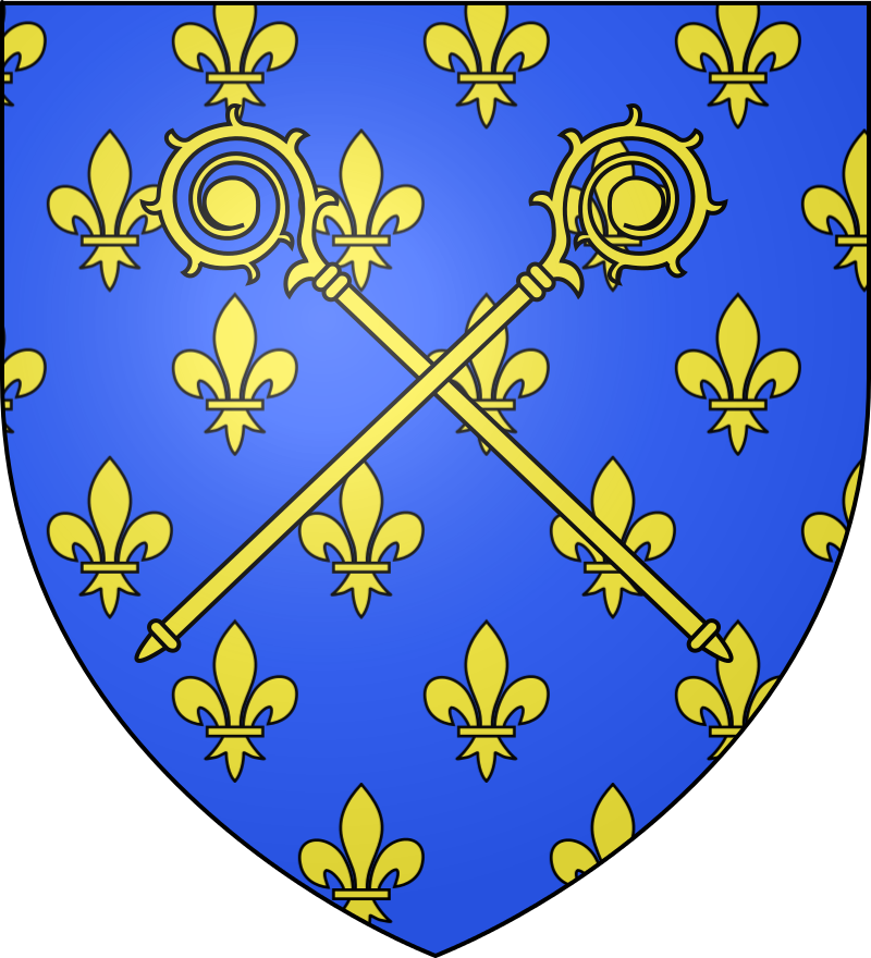 Le blason écclésiastique de l'ordre des chanoines réguliers de Prémontré est d'azur, semé de fleurs de lys d'or, à deux crosses du même passées en sautoir brochant sur le tout.