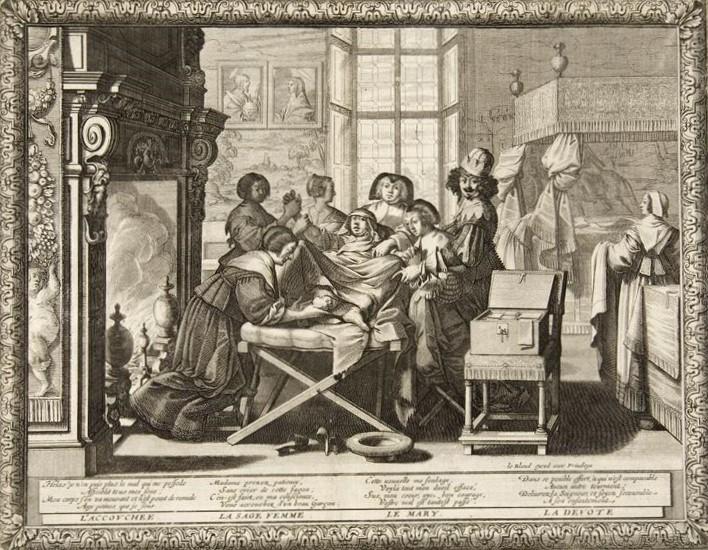 Bosse, Abraham, l'Accouchement, troisième planche d'une suite de six intitulée le Mariage à la ville. scène de genre, eau-forte et burin, 1633, consultable en ligne sur le portail des expositions virtuelles de la Bibliothèque nationale de France.