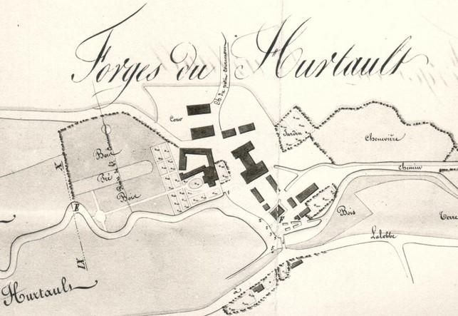 Les forges du Hurtault (Signy-l'Abbaye) ont appartenu aux prémontrés jusqu'à la Révolution de 1789 (plan de 1832).