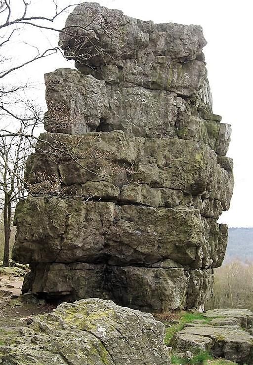 Roche siliceuse (quartzite) à Roc-la-Tour (forêt domaniale de Château-Regnault sur les hauteurs de Monthermé, dans les Ardennes).