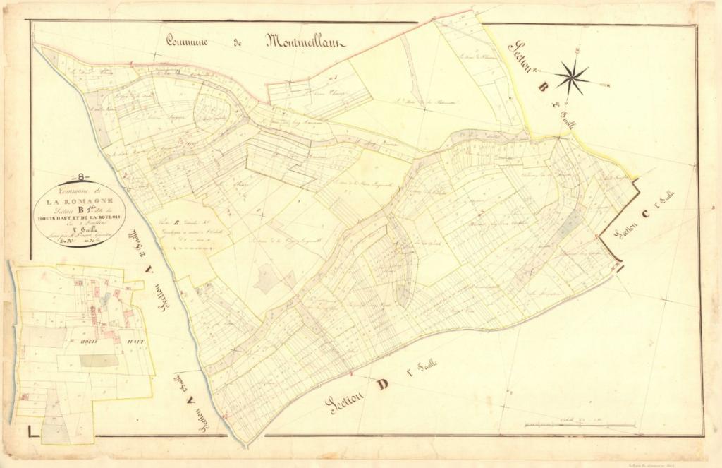 Archives départementales des Ardennes, La Romagne B1 1835, le Houis haut et la Boulois,  cadastre ancien, plan parcellaire avec une partie développée à l'échelle 1/1250, consultable en ligne.
