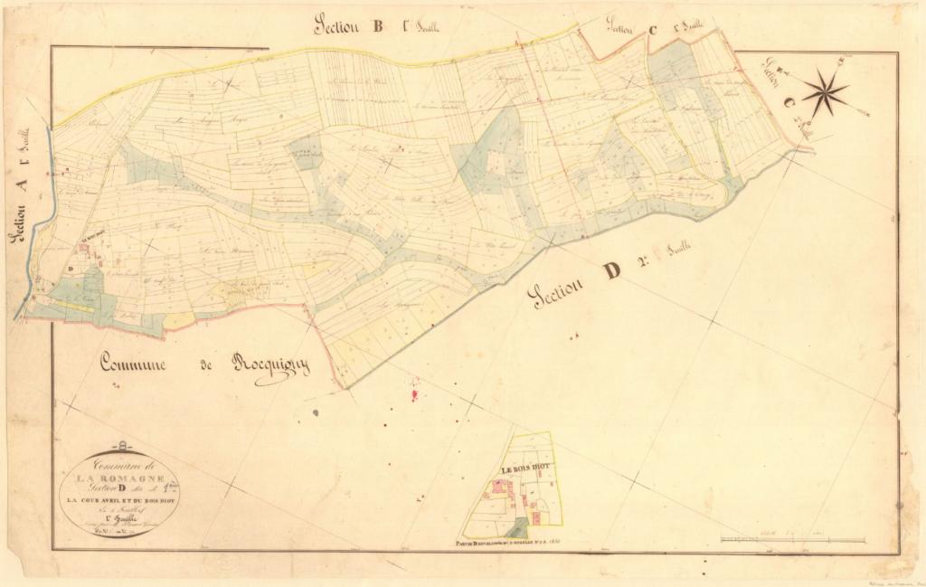 Archives départementales des Ardennes, La Romagne D1 1835, la Cour Avril et le Bois Diot, cadastre ancien, plan parcellaire avec une partie développée à l'échelle 1/1250, consultable en ligne.