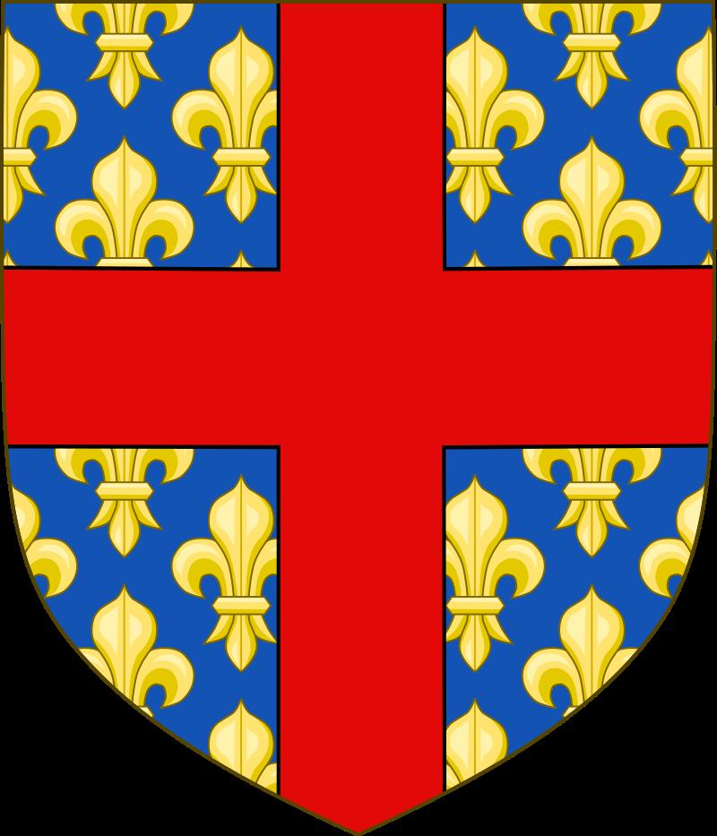 Le blason ecclésiastique de l'archevêché de Reims est d'azur, semé de fleurs de lys d'or, à la croix de gueules brochante sur le tout.