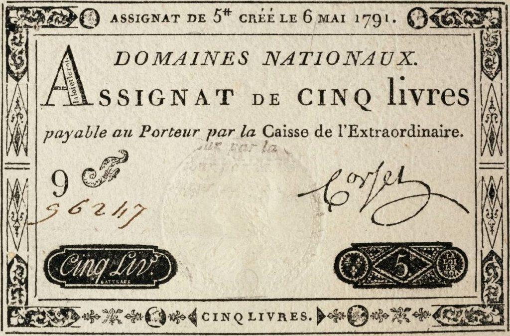 D'abord titres d'emprunt, les assignats deviennent une monnaie de circulation et d'échange en 1791.