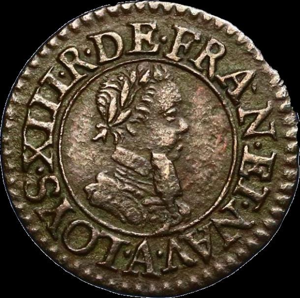 Denier tournois de type Paris 1616, portrait de Louis XIII le juste (avers).