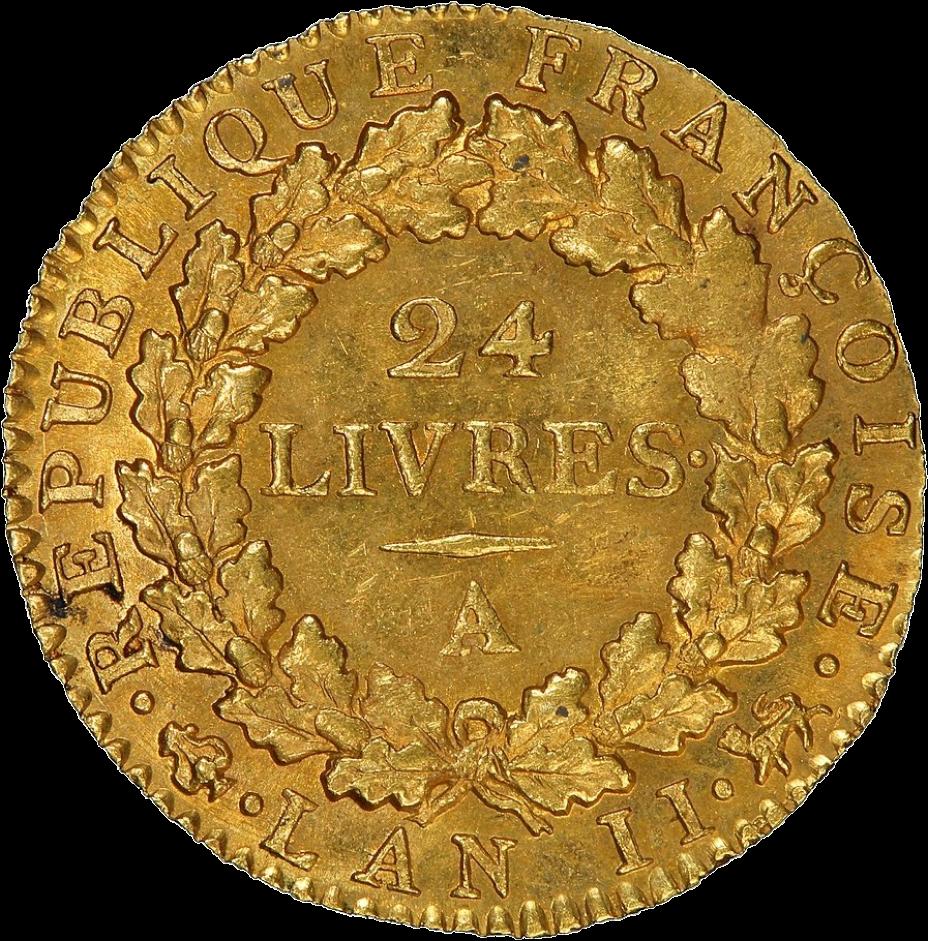 Pièce d'or de 24 livres françaises, 1793 (revers).